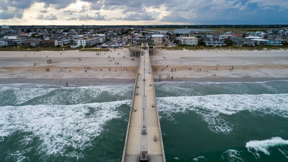 Johnny Mercer's Fishing Pier juts into the Atlantic Ocean two days before Hurricane Florence is expected to strike Wrightsville Beach, N.C., Sept. 11, 2018.