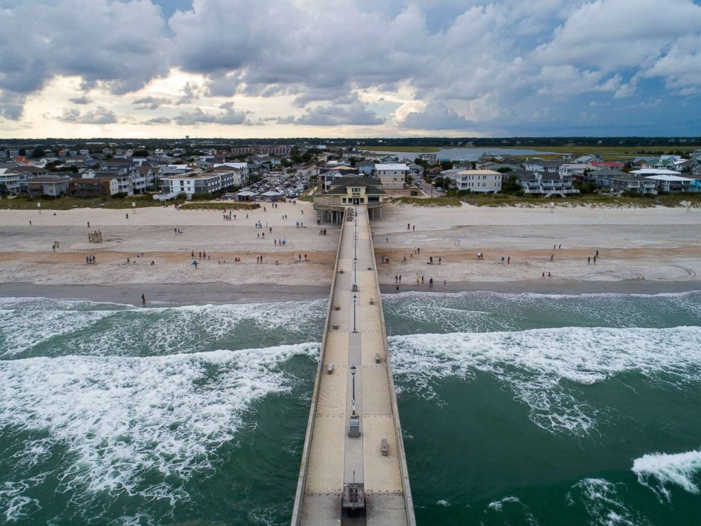 PHOTO: Johnny Mercers Fishing Pier juts into the Atlantic Ocean two days before Hurricane Florence is expected to strike Wrightsville Beach, N.C., Sept. 11, 2018.