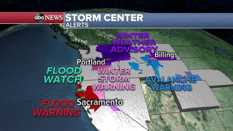 PHOTO: Flood watches and warnings and avalanche warnings remain in the West Coast.
