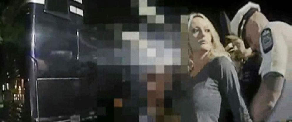 PHOTO: Body cam footage released by the Columbus Police Department shows Stormy Daniels during her arrest after a performance at Sirens Gentlemens Club in Columbus, Ohio, July 12, 2018.