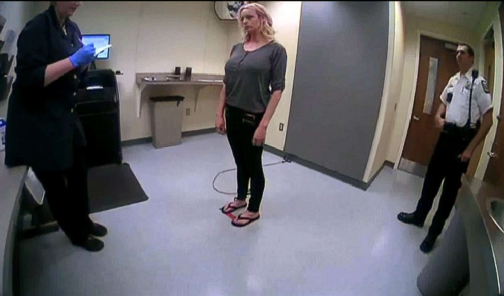 Body cam footage released by the Columbus Police Department shows Stormy Daniels during her arrest after a performance at Sirens Gentlemen's Club in Columbus, Ohio, July 12, 2018.