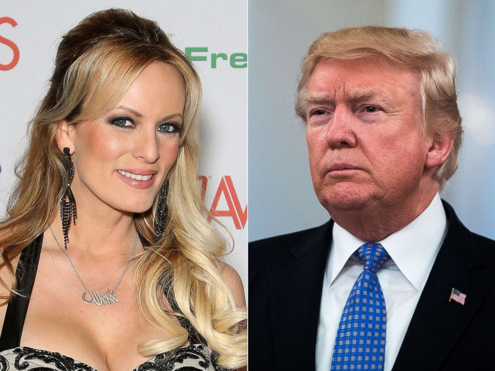 PHOTO: Stormy Daniels attends an event on Jan. 21, 2017 in Las Vegas.| President Donald Trump is pictured at the White House on July 27, 2017