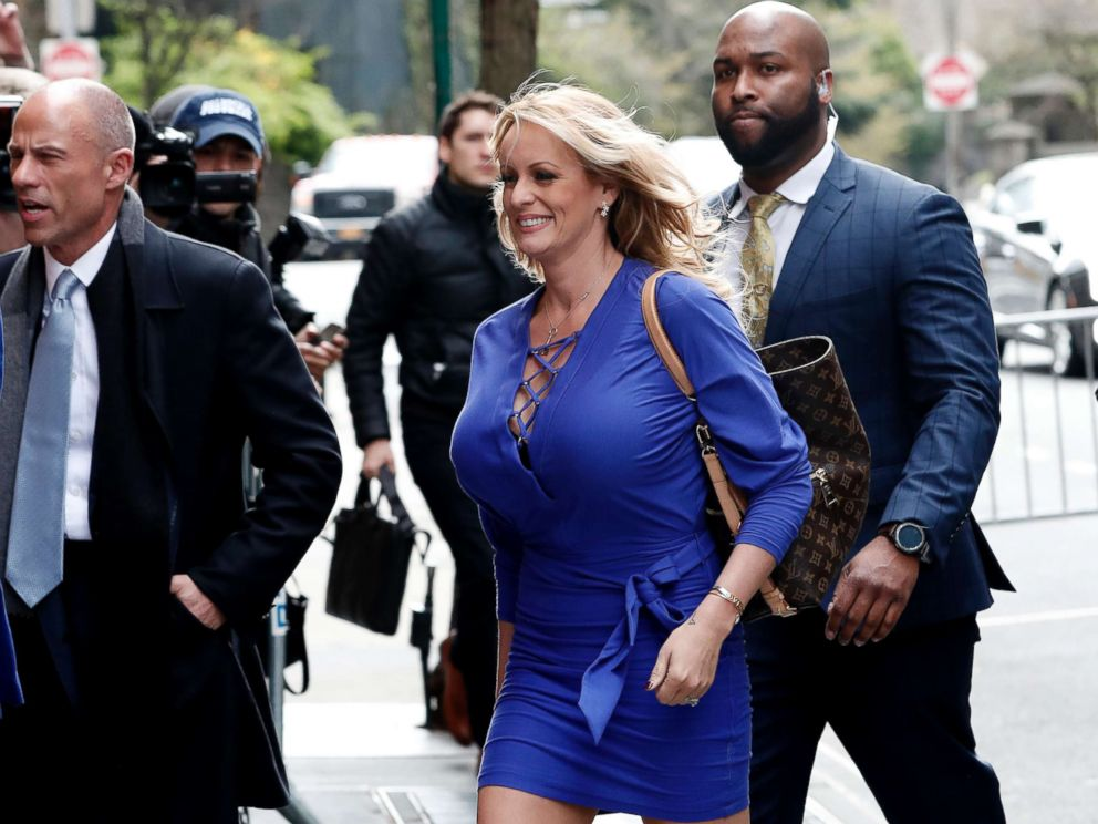 PHOTO: Adult-film actress Stephanie Clifford, also known as Stormy Daniels, arrives at ABC studios to appear on The View talk show in New York City, April 17, 2018.