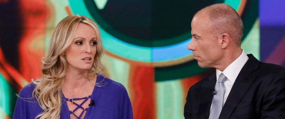 "PHOTO: Stormy Daniels and her Attorney Michael Avenatti appear on ""The View,"" April 17, 2018."