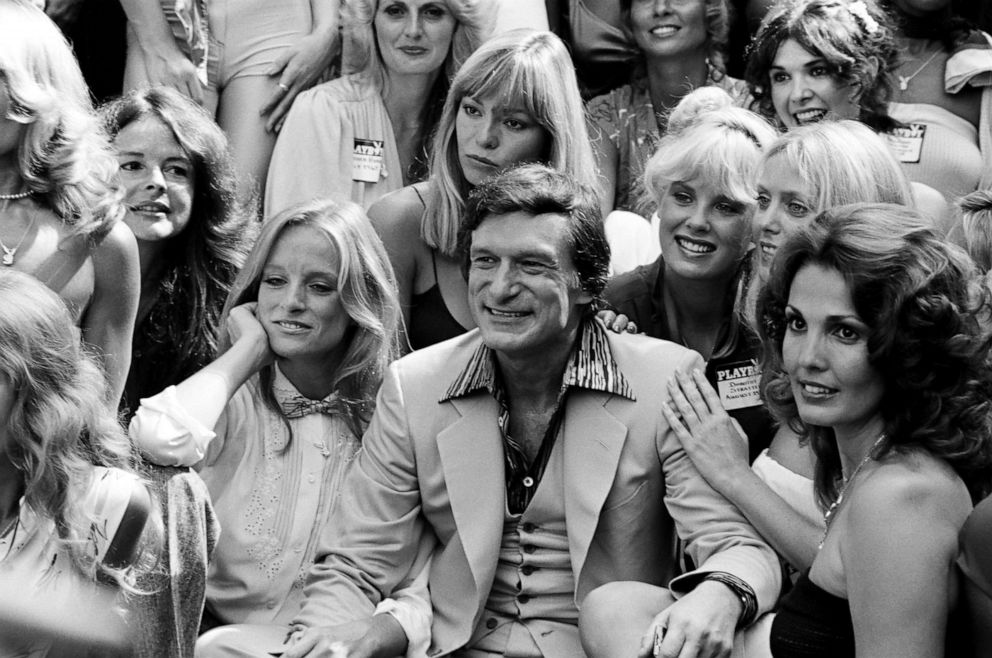 PHOTO: Playboy founder Hugh Hefner, Playmates Dorothy Stratten, Connie Kreski, Angela Dorian celebrating Playboy Magazines 25th Anniversary All-Day Saturday Playmate Reunion at the Playboy Mansion West, Sept. 8, 1979, in Los Angeles.