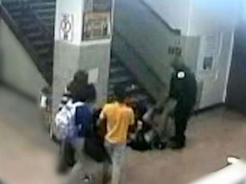 PHOTO: A school resource officer at John Marshall Metropolitan High School in Chicago can be seen dragging a 16-year-old girl down a flight of stairs in a February incident.