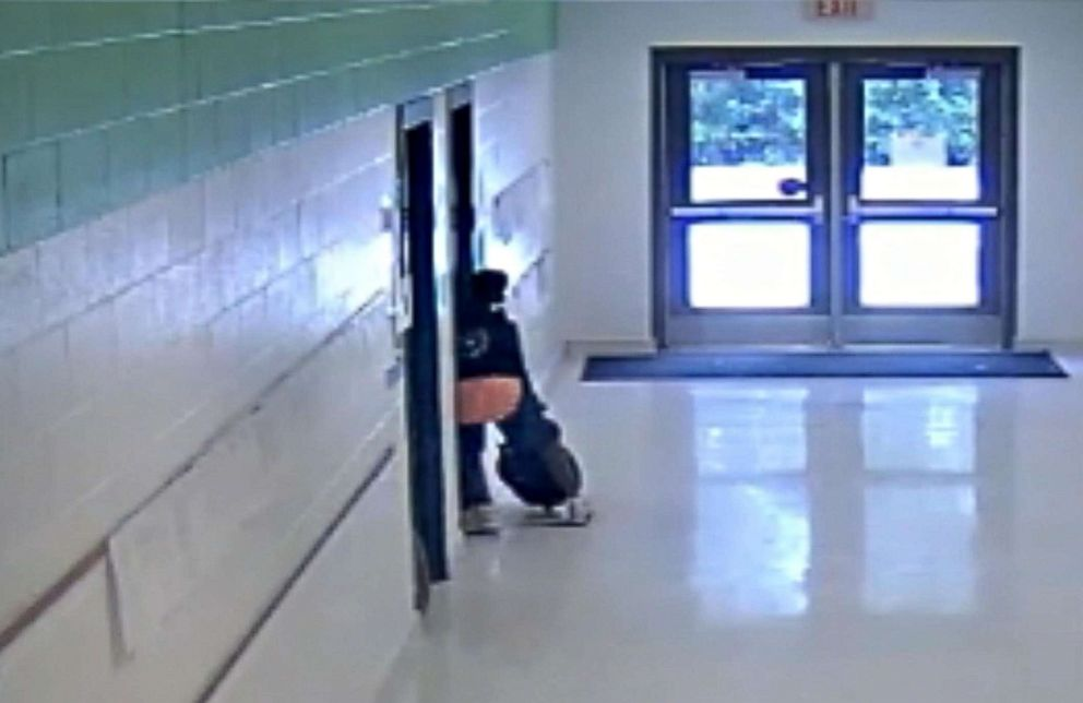 PHOTO: The boy tried to re-enter the classroom after being physically kicked out, but the teacher had locked the door.