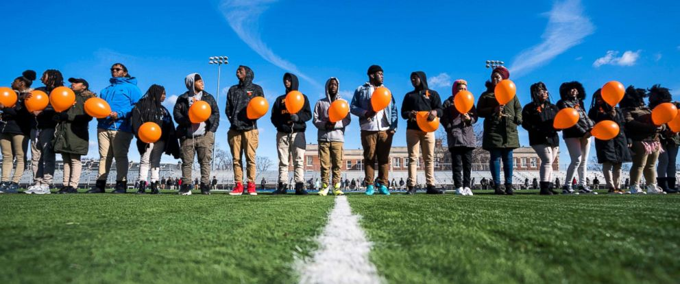 PHOTO: Eastern High School students walk out of class and assemble on their football field for the National School Walkout, a nation-wide protest against gun violence, in Washington, March 14, 2018.