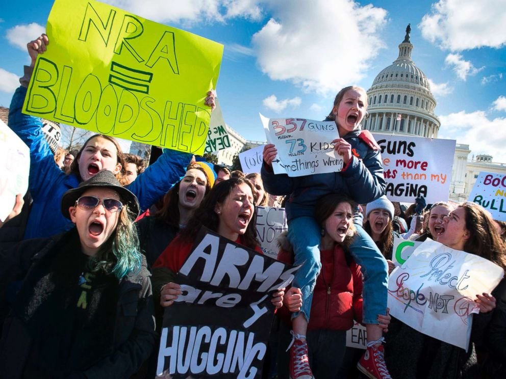PHOTO: Students across the U.S. walked out of classes on March 14, 2018, in a nationwide call for action against gun violence following the shooting deaths last month at a Fla. high school.