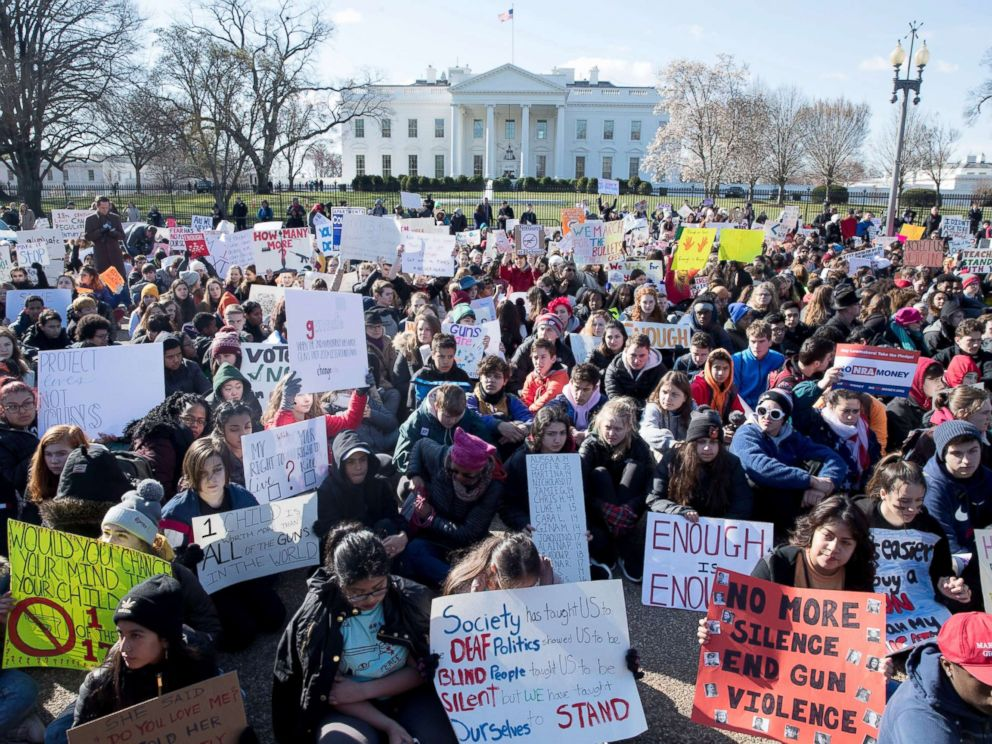PHOTO: Young people participate in the National School Walkout over gun violence at a rally on Pennsylvania Avenue outside the White House in Washington, D.C., March 14, 2018.