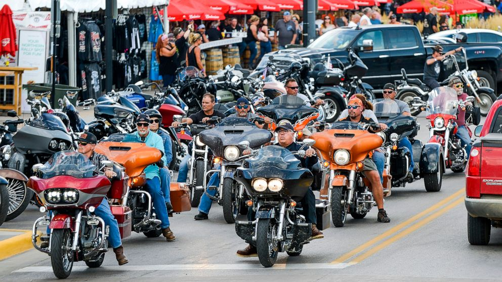PHOTO: Motorcyclists ride down Main Street a day before the start of the Sturgis Motorcycle Rally in Sturgis, S.D., Aug. 6, 2020.