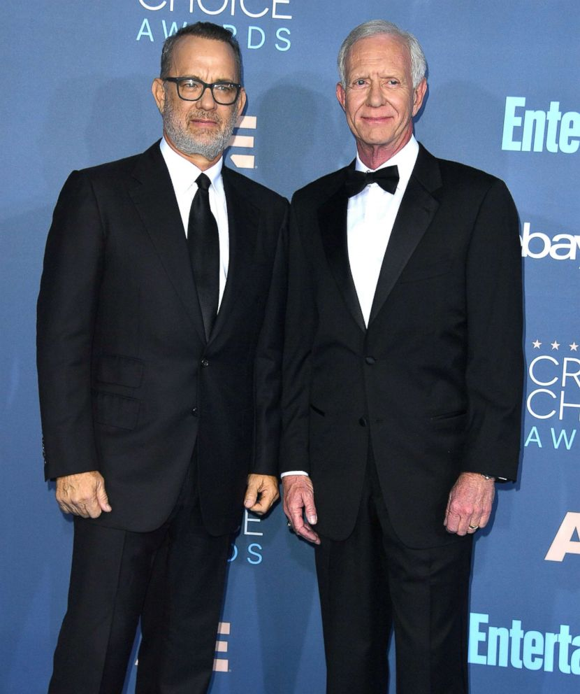 PHOTO: Tom Hanks and Chesley Sully Sullenberger arrive at the The 22nd Annual Critics Choice Awards, Dec. 11, 2016, in Santa Monica, Calif.