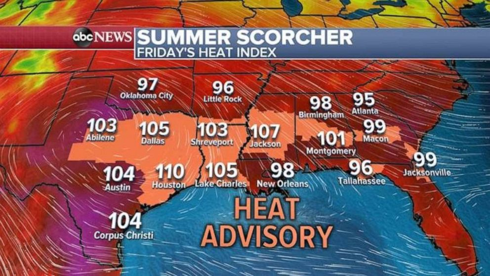 PHOTO: Dangerous heat is in place across the South on Friday.