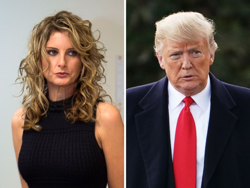 PHOTOS: Summer Zervos is featured at a press conference in Los Angeles on January 17, 2017, and President Donald Trump walks in the southern White House lawn in Washington, DC, on October 31, 2018.