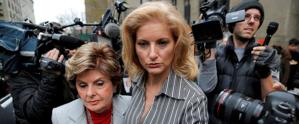 PHOTO: Summer Zervos, right, a former contestant on The Apprentice, leaves New York State Supreme Court with attorney Gloria Allred after a hearing on the defamation case against President Donald Trump in Manhattan, Dec. 5, 2017.