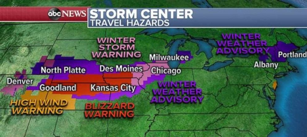PHOTO: A winter storm warning is in place for the Chicago area, while blizzard conditions are possible near Kansas City, Missouri, on Sunday.