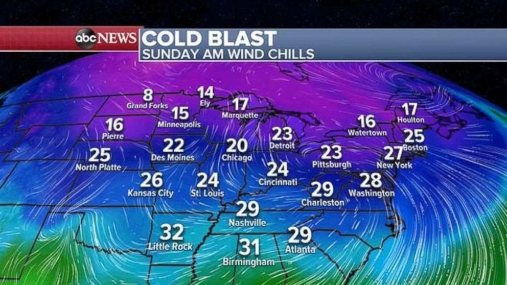 PHOTO: The cold blast will move into the Midwest and Northeast on Sunday morning.