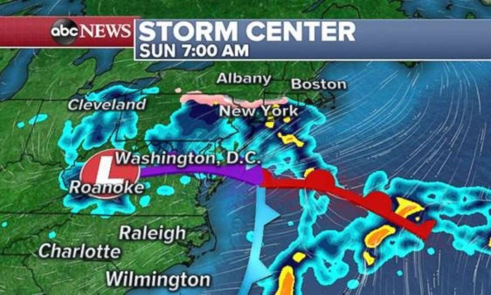PHOTO: By Sunday morning, rain will be centered over the Northeast.
