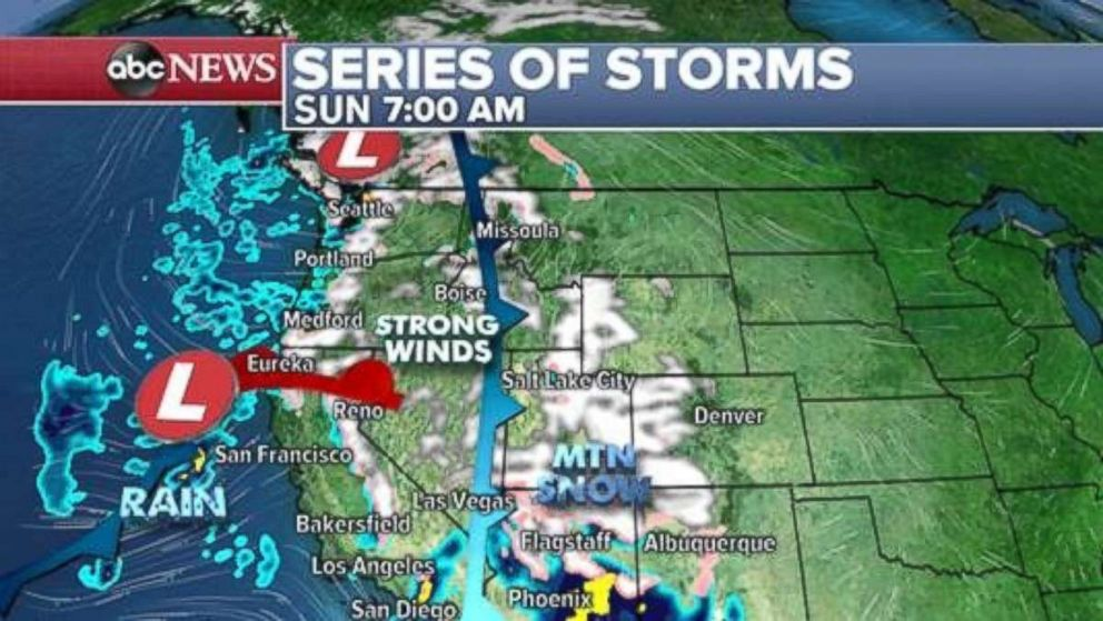 PHOTO: A major storm is moving onto the West Coast on Sunday morning.