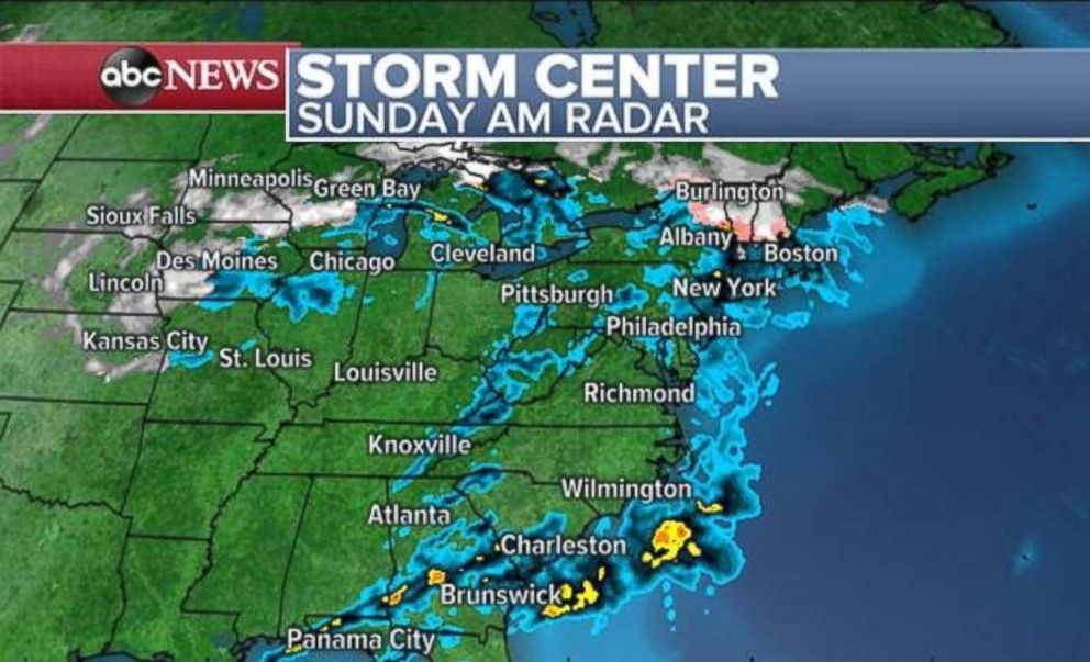 Storms stretch along the entire eastern U.S. on Sunday morning.