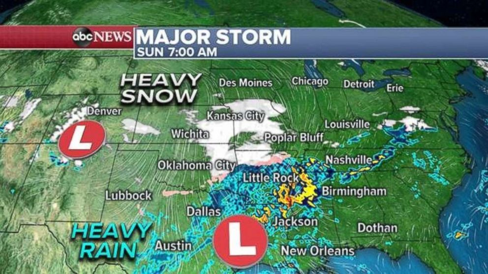 PHOTO: Heavy rain is developing to the South on Sunday while snow forms to the north.