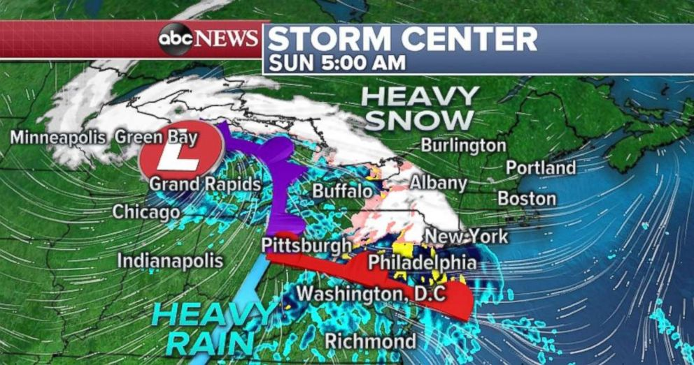 Heavy snow will move into Upstate New York and northern New England on Sunday.
