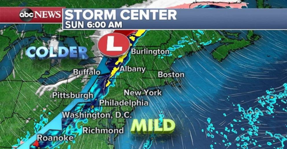 The storms will weaken by the time they reach the East Coast on Sunday.