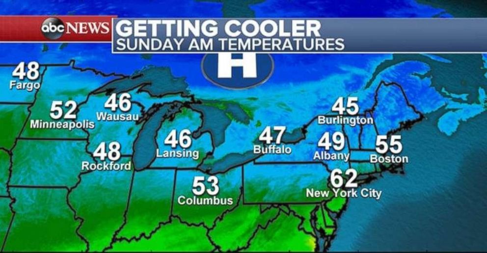 PHOTO: The cooler temperatures will hit the Northeast on Sunday for the first full day of fall.