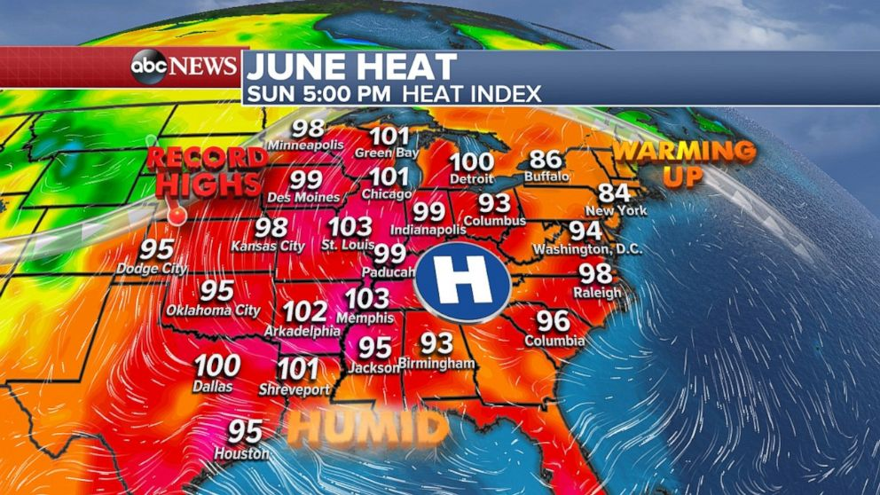 The heat index will be over 100 degrees from Wisconsin south to Louisiana on Sunday