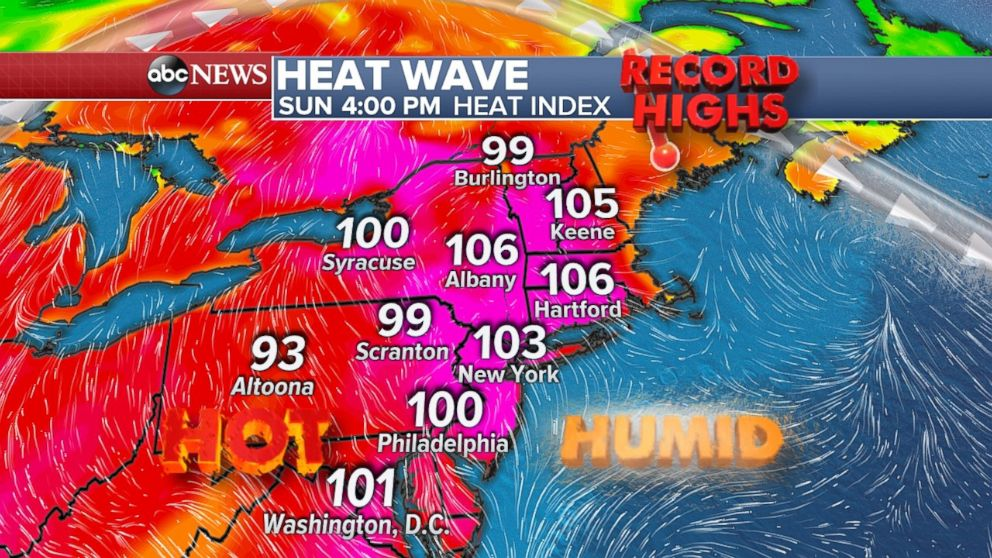 The hottest day of the heat wave will be on Sunday in the Northeast.