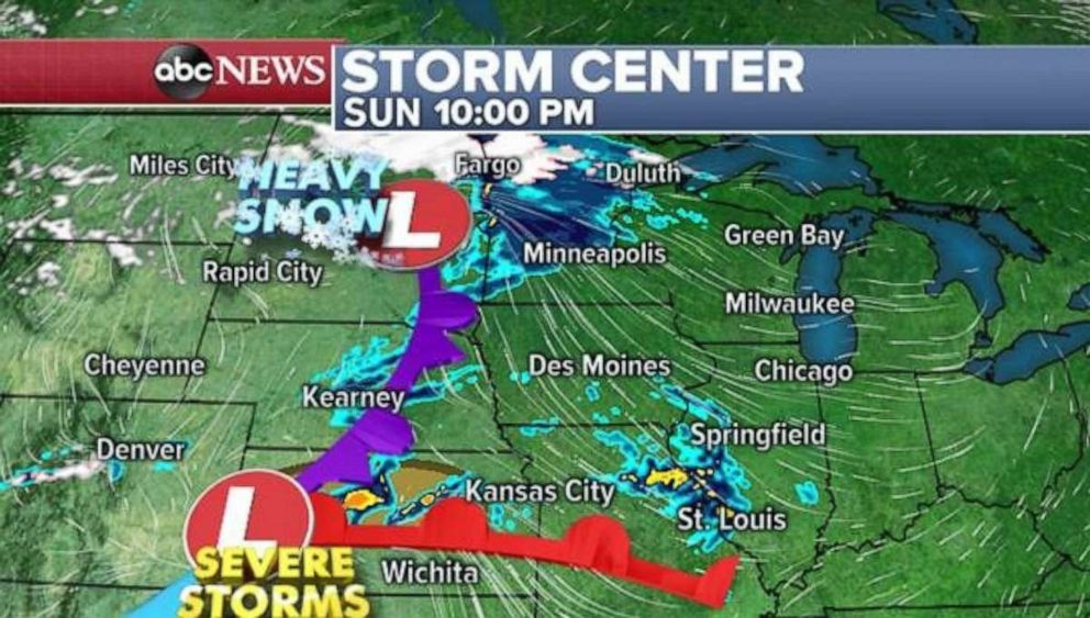 PHOTO: Heavy snow is possible in the Northern Plains on Sunday night, while severe storms are possible to the south.