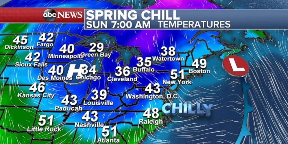 Temperatures Are Chilly Across Much Of The Midwest And Northeast On Sunday