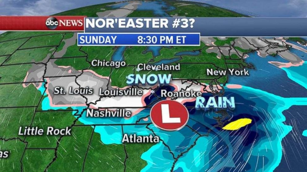 The American model shows the storm centered around the Carolinas on Sunday night.