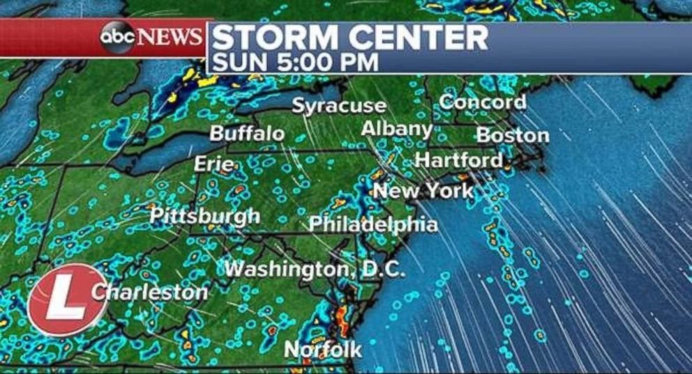 Scattered showers will cover much of the eastern U.S. on Sunday.