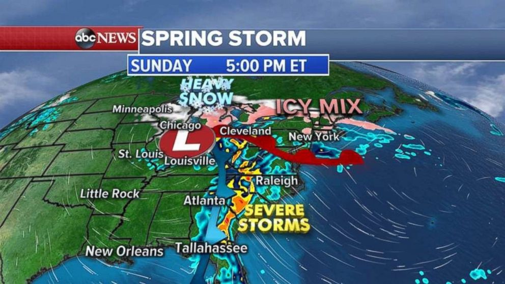 The Southeast will see severe storms on Sunday while snow and an icy mix moves into the Midwest.