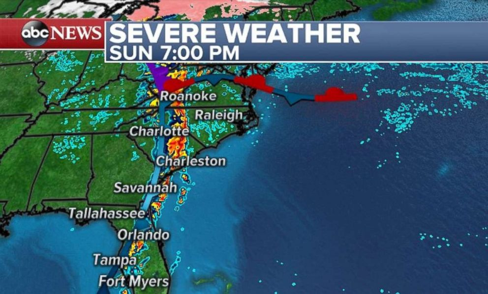 The Carolinas and Virginia will be most at risk for tornadoes on Sunday.