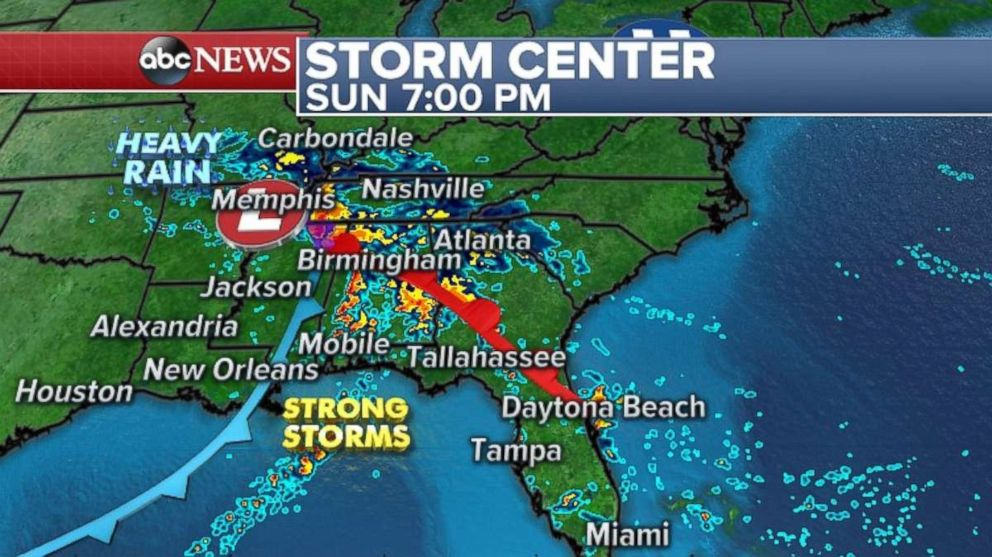 Strong storms are likely through Tennessee, Mississippi and Georgia on Sunday night.