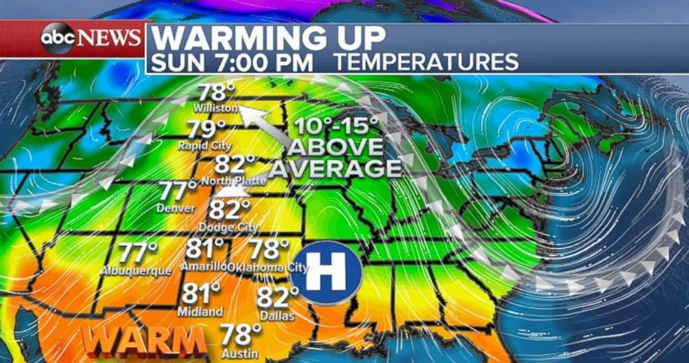 Above-average temperatures are in store for the central U.S. beginning on Sunday.