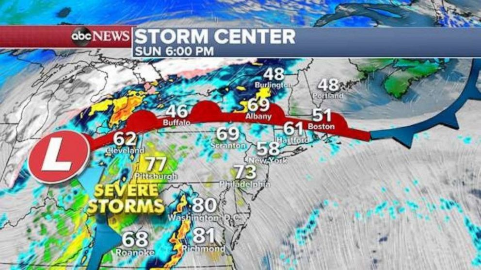 Severe storms will move into the Northeast on Sunday evening.