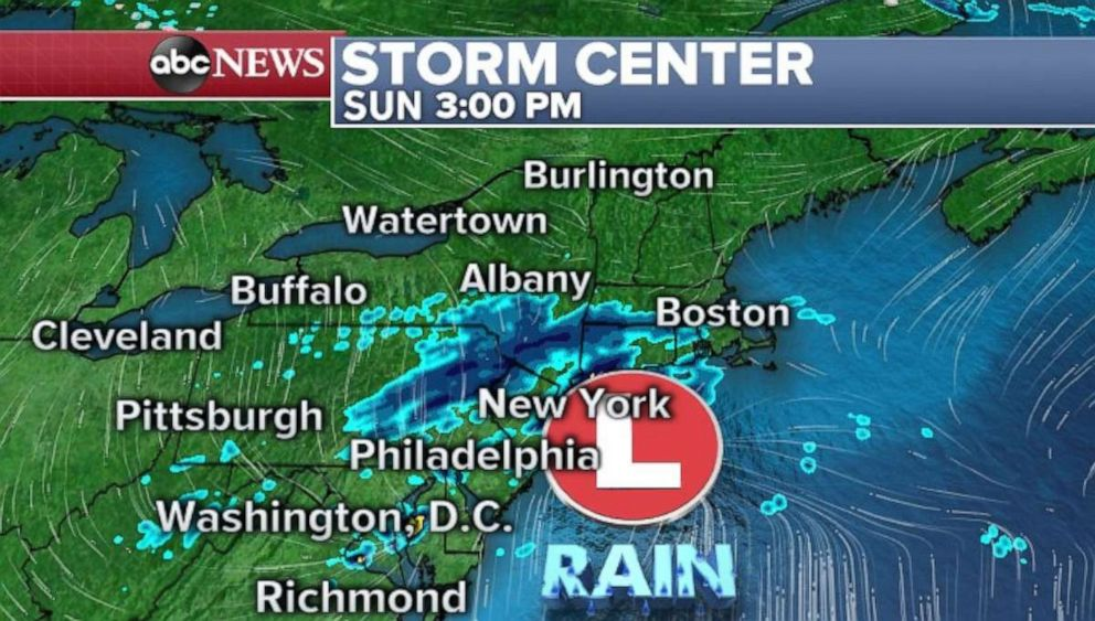 PHOTO: Storms will break up as it arrives in the Northeast on Sunday afternoon.