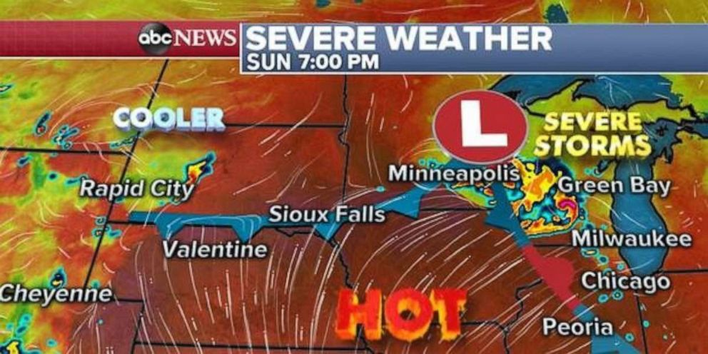 PHOTO: Heat and storms are in place across the Plains and Midwest on Sunday evening.