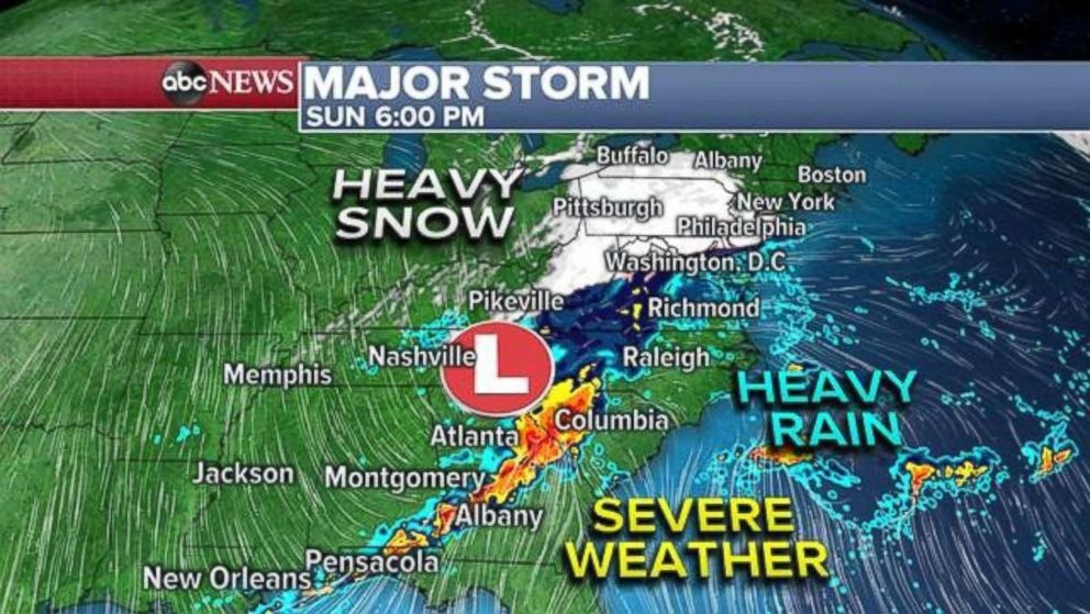 PHOTO: The snow will move into the Northeast Sunday evening. The South will be at risk for severe weather, including tornadoes and hail.