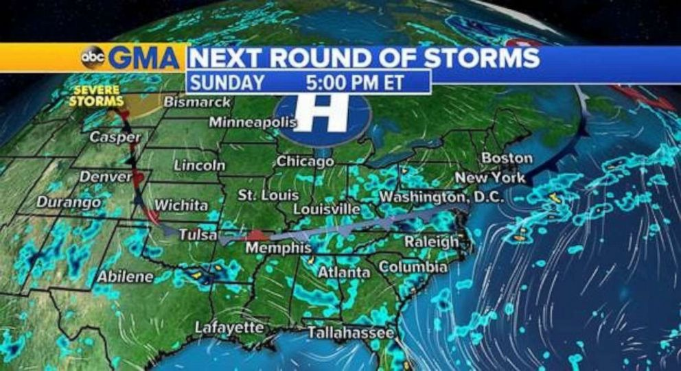PHOTO: Storms are in the forecast for most of the South on Sunday.