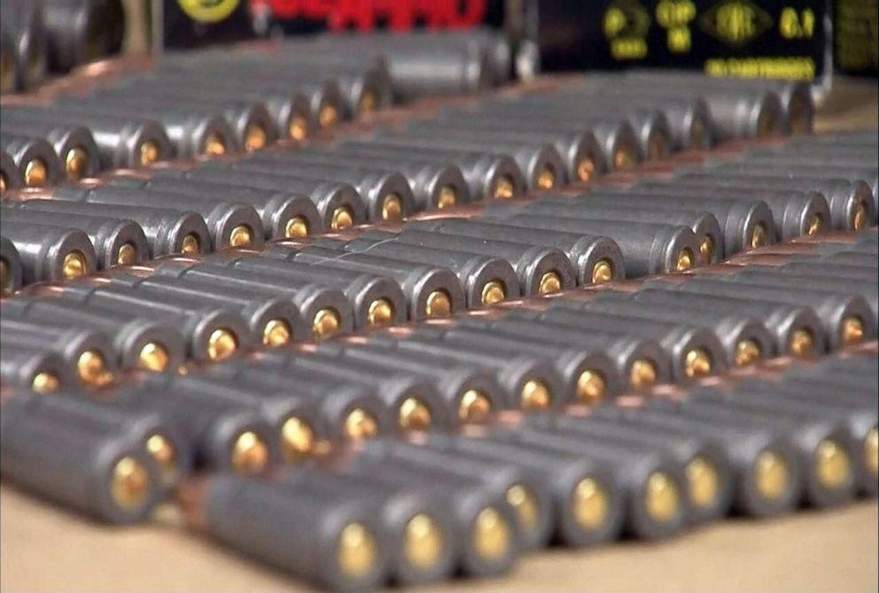 PHOTO: Ammunition is seen on display during a press conference where Upper Darby Police Superintendent Michael Chitwood told the media about weapons and ammunition found to be in possession of An Tso Sun, April 2, 2018.