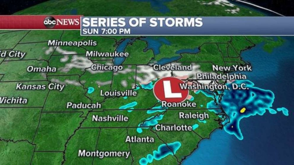 PHOTO: The Mid-Atlantic and Northeast could see some rain and snow Sunday night.
