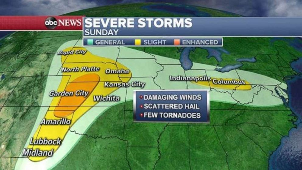 PHOTO: The severe weather threat will continue in the Southern Plains on Sunday.