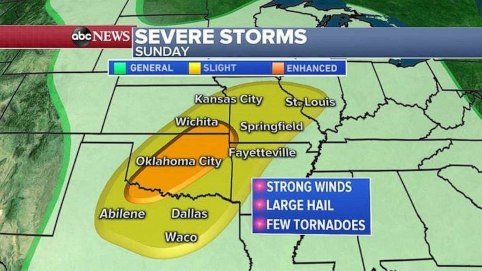 PHOTO: Severe weather is also possible on Sunday, especially in Oklahoma.