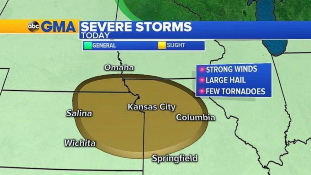 PHOTO: Severe weather is possible in northern Missouri and eastern Kansas on Sunday.