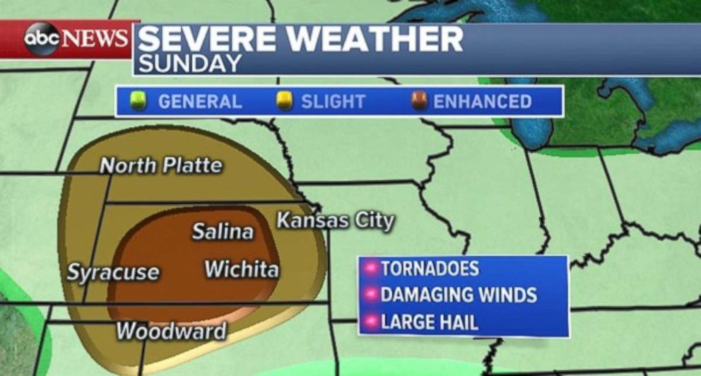 There is a potential for significant severe weather on Sunday in the Central Plains.