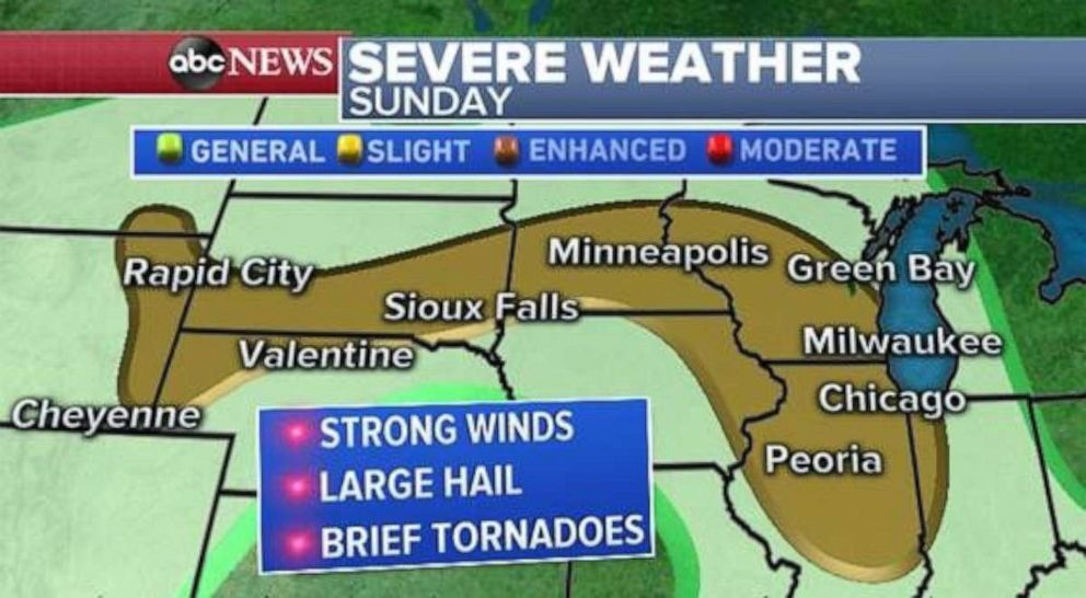 PHOTO: Severe weather is possible from Illinois north through Wisconsin and west into Minnesota and South Dakota.